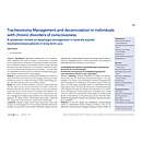 Tracheostomy Management and decannulation in individuals with chronic disorders of consciousness - A systematic review on dysphagia management in severely injured tracheotomized patients in long-term care - Dysphagieforum Ausgabe 1/2013